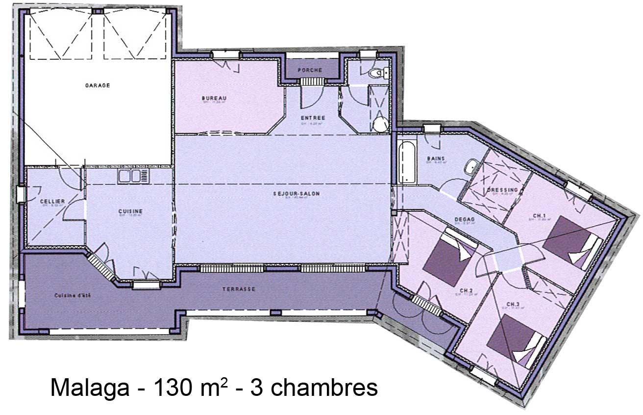 Mod le et plans malaga 3ch du constructeur maisons sic for Auto construire des plans de maison