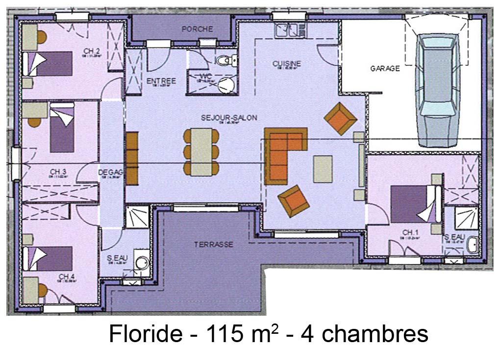 plan de maison 4 ch