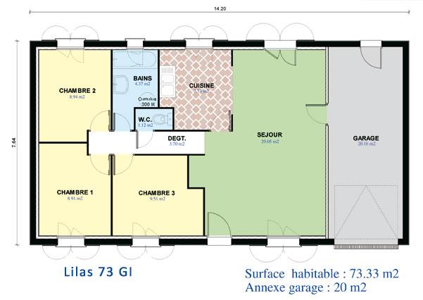 Modèle et plans: Mdf-lilas 73 gi du constructeur MAISONS D'EN FRANCE Ile de France
