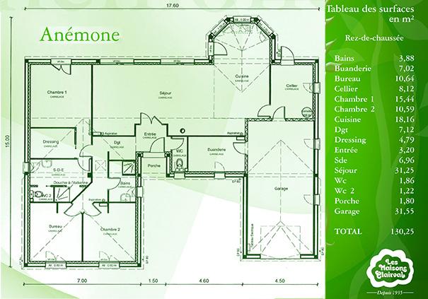 Mod le et plans anemone du constructeur maisons clairval for Plans maisons en u